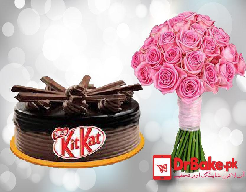 Kit Kat Cake with Imported pink Roses - Dr Bake Pakistan Send gifts to Lahore, Karachi, Islamabad, Pakistan