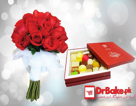 1kg Mix Sweet with 24 Red roses. - Dr Bake Pakistan Send gifts to Lahore, Karachi, Islamabad, Pakistan