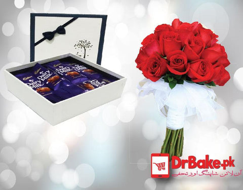 Red Roses Tied With Dairy Milk Chocolate in Gift Box. - Dr Bake Pakistan Send gifts to Lahore, Karachi, Islamabad, Pakistan