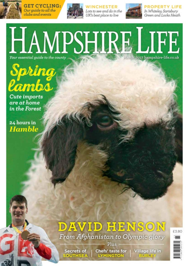 New Forest Valais Blacknose featured on the front cover of Hampshire Life