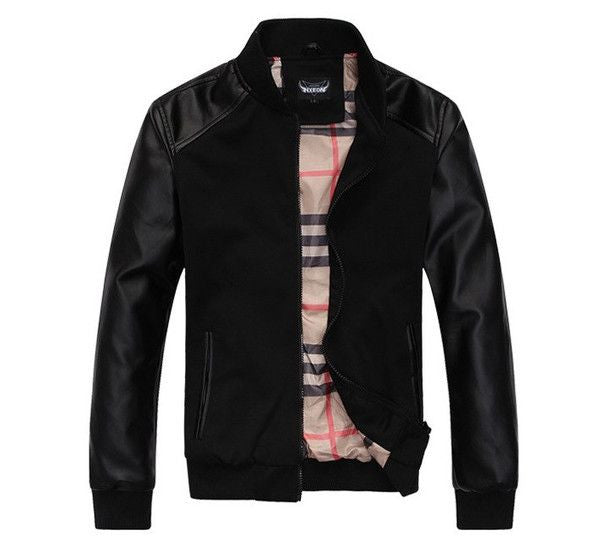 Classic Jacket with Leather Sleeves