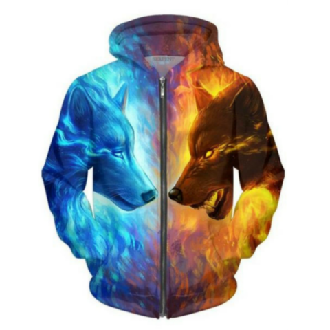 WOLF ICE AND FIRE HOODED JACKET