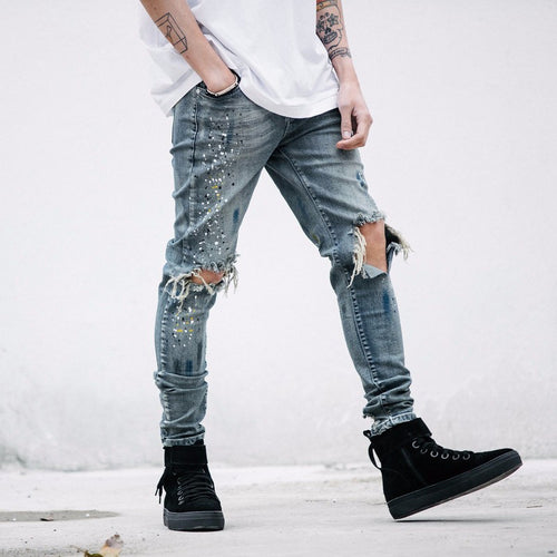 Distressed Stone Wash Splash Jeans