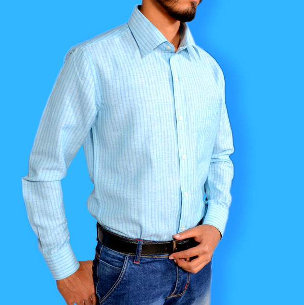 PITCH-BLUE STRIPES ON LIGHT-BLUE SKY SHIRT