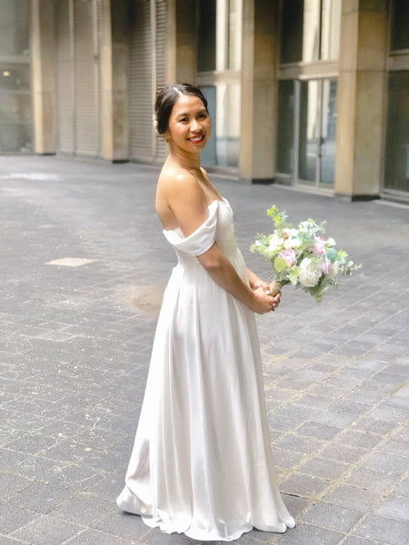 by catalfo off the shoulder gown in ivory for toronto city hall wedding