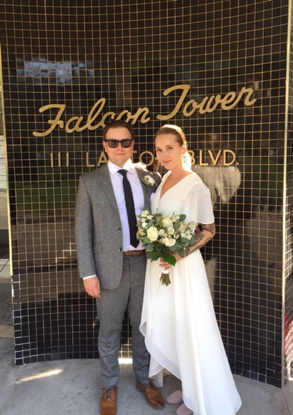 toronto city hall wedding in custom by catalfo ivory wrap dress