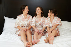 bridesmaids getting ready wearing by catalfo silk robes