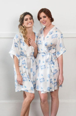 'Something Blue' Robe | Blue and white floral print bridesmaid robe for getting-ready | Bridesmaid gift, Toronto
