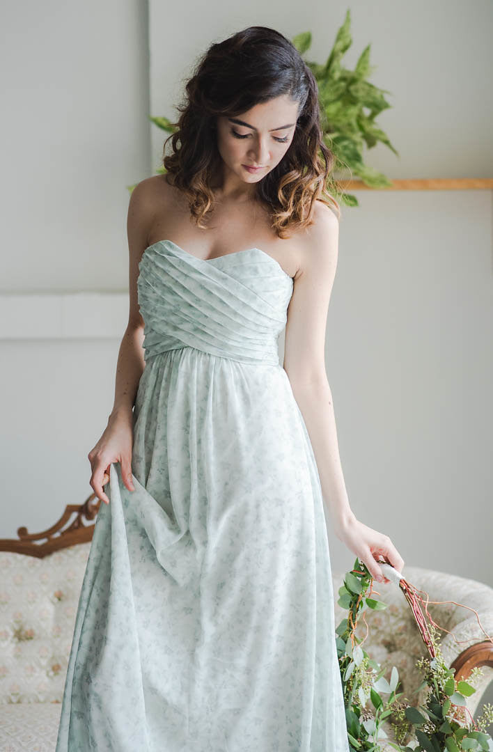 strapless sweetheart flowy, custom bridesmaid dress in sage green floral print