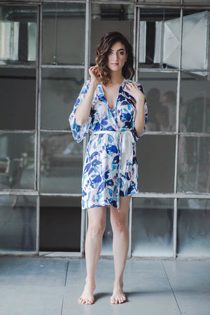 floral print bridesmaid robe from by catalfo in navy, blush pink and lavender