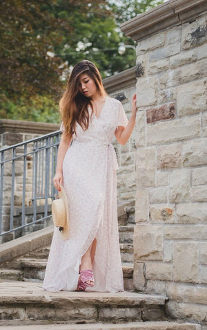 Amalfi Floral Wrap Dress | Blush floral print, flowy custom dress in Toronto