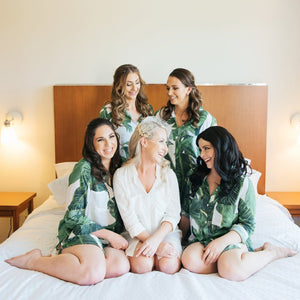 Canadian bridesmaids wearing by catalfo Bellisle Palm Print Boyfriend Shirt