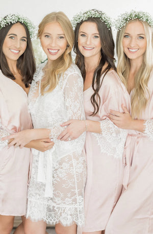 Blush bridesmaid robes for getting ready from By Catalfo in Toronto