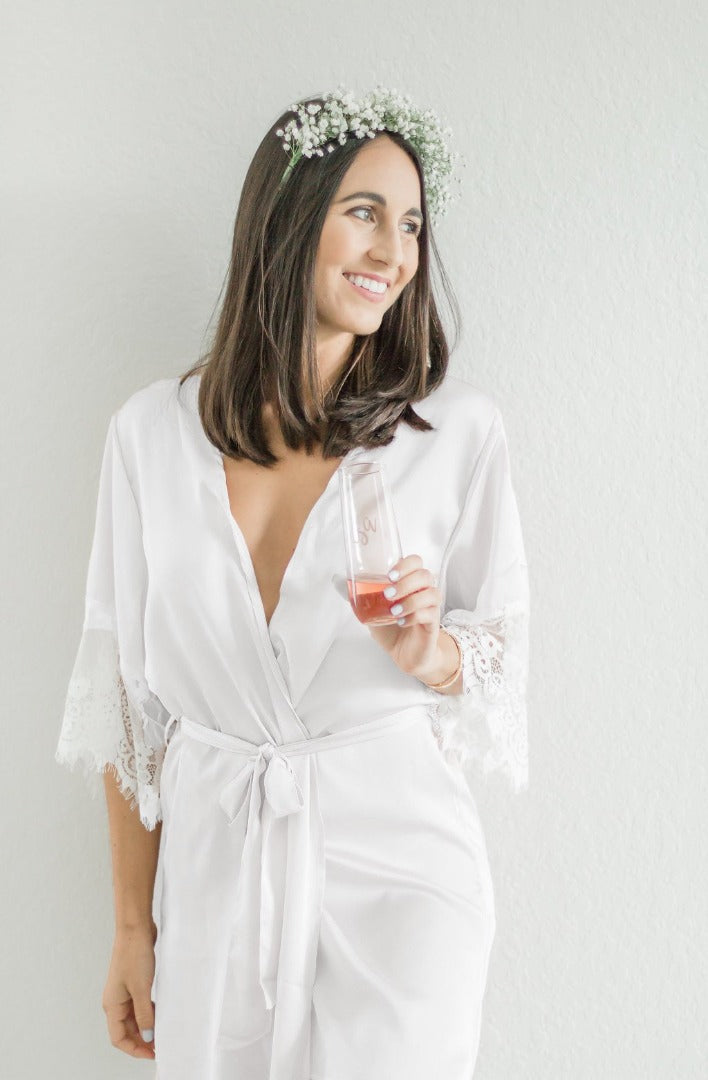 white bridal robe with lace trim from by catalfo