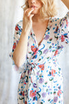 alternative bridesmaid floral print robe for getting ready in Toronto