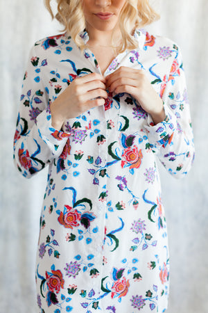 floral print boyfriend shirt for getting ready or loungewear from by catalfo
