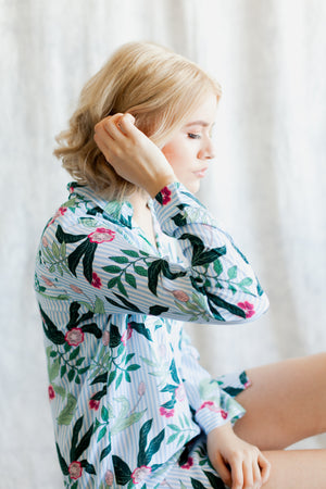 Amalia Boyfriend Shirt from By Catalfo with blue and white stripes and tropical floral print