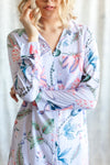 Lavender boyfriend shirt loungewear from by catalfo in the Capri tropical floral print