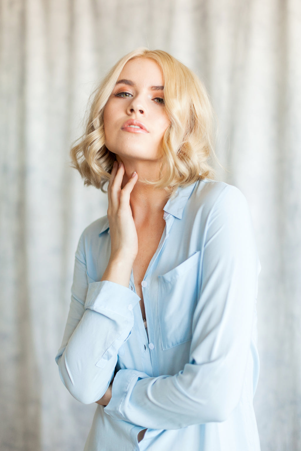 Chambray Blue Boyfriend Shirt