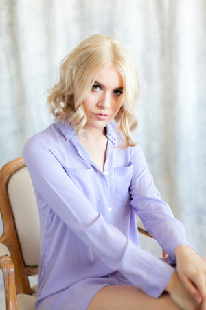 Lavender bridesmaid getting ready boyfriend shirt from By Catalfo