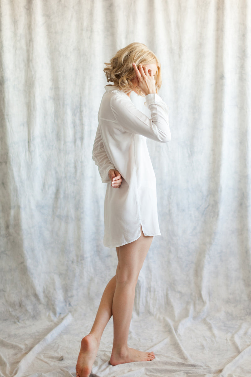 white bridal boyfriend shirt, loungewear for brides and bridesmaids to getting ready in from by catalfo