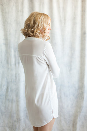 white bridal boyfriend shirt, loungewear for brides to getting ready in from by catalfo