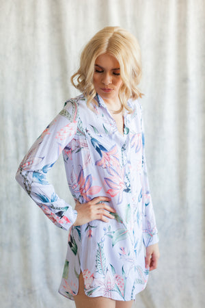 Lavender boyfriend shirt loungewear from by catalfo, for bridesmaids