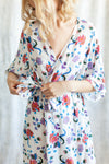 modern floral print getting ready robe for destination weddings