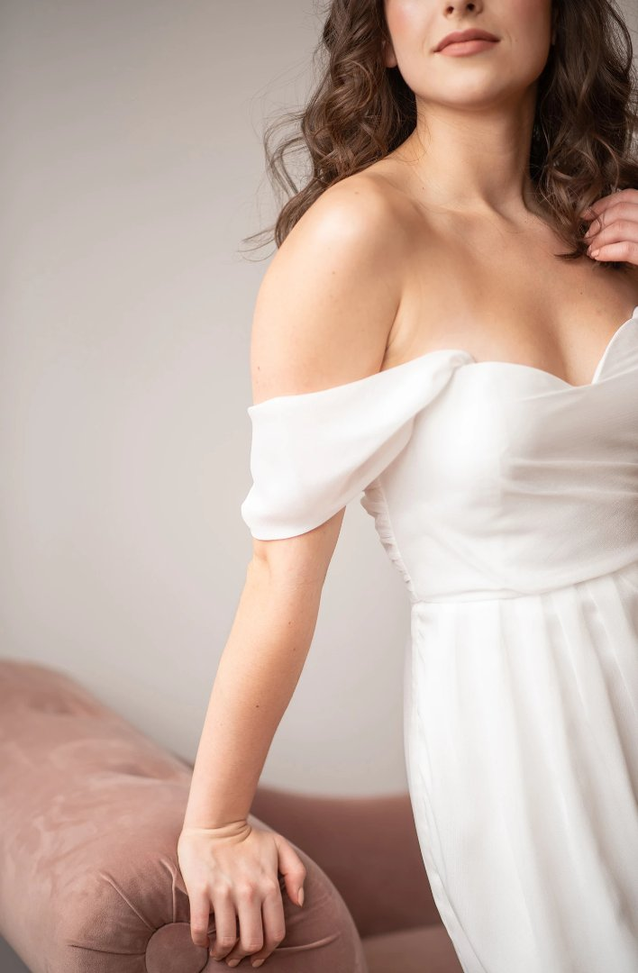 by catalfo white off the shoulder elopement dress