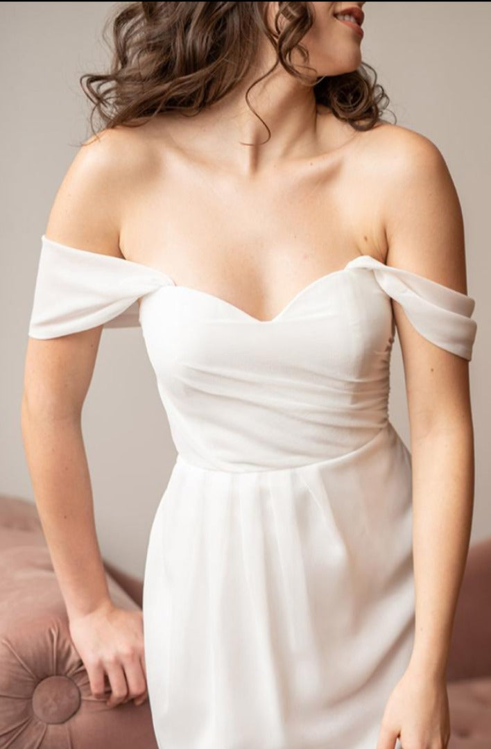 close up front view strapless midi white dress from by catalfo