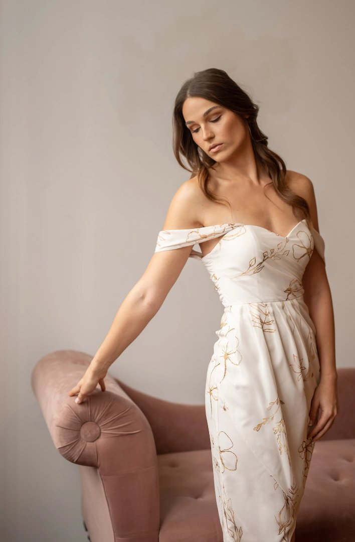 white bridesmaid dress from by catalfo