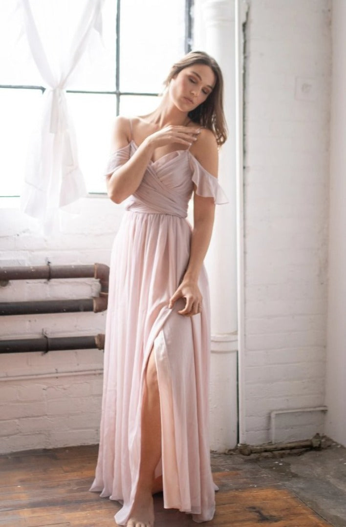 by catalfo stardust wedding gown with high slit, in toronto