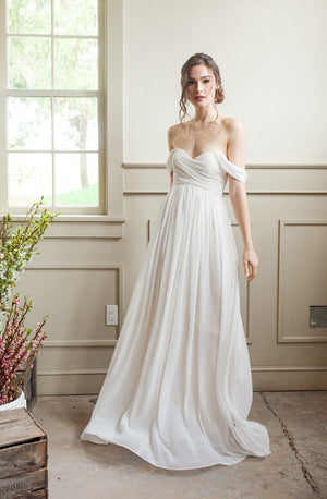 simple wedding gown with off the shoulder sleeves, white elopement dress