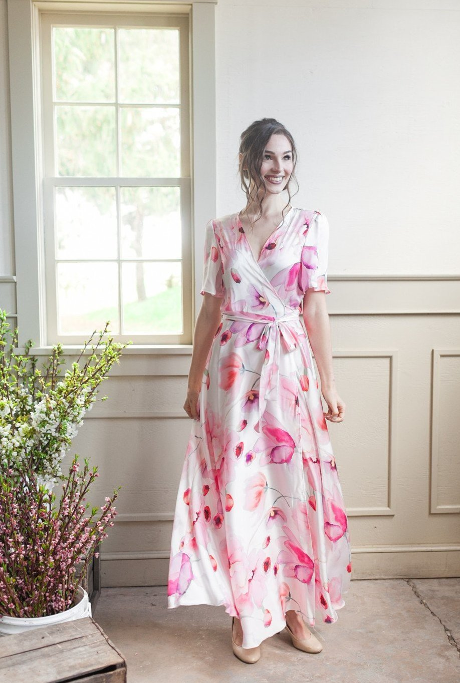 Custom flowy wrap dress for bridesmaids in Toronto, blush floral print custom bridesmaid dress