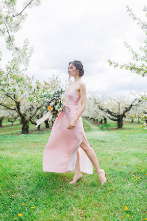 Modern bridesmaid dress with skirt slit from by Catalfo, in Toronto