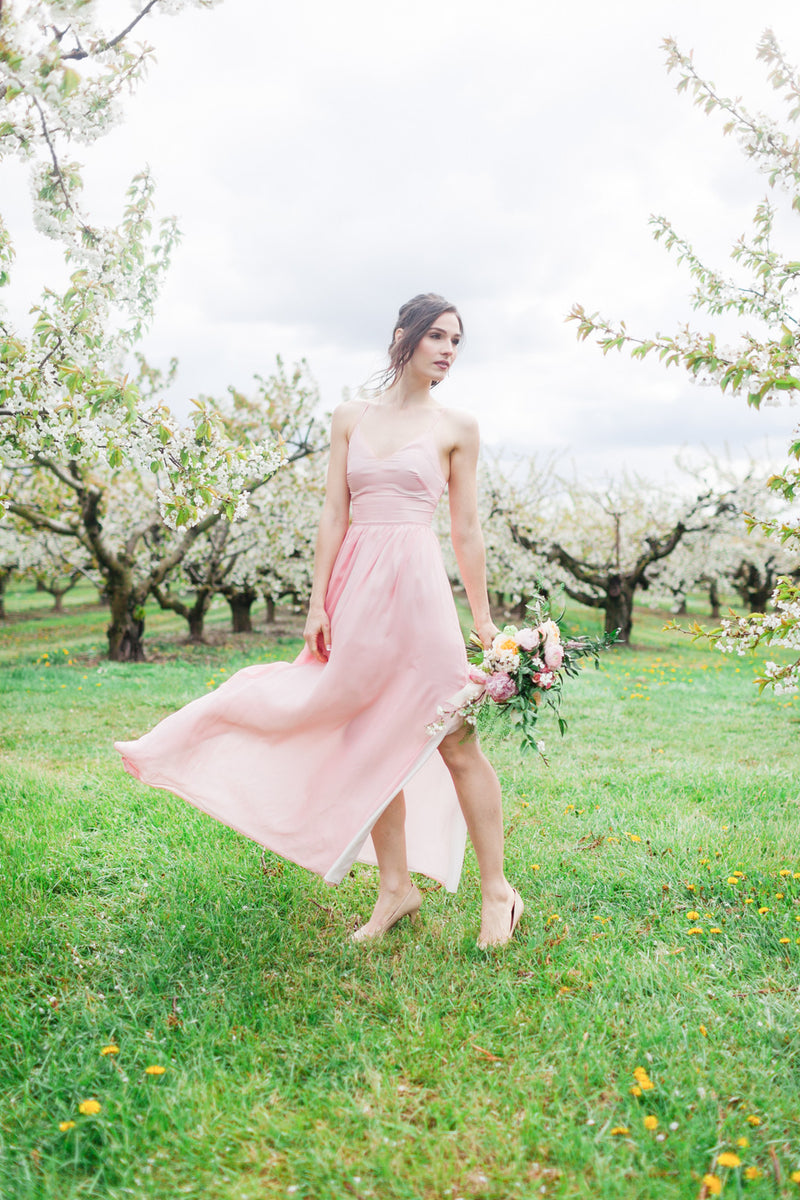 Open back, modern Blush bridesmaid dress in Blush from by Catalfo