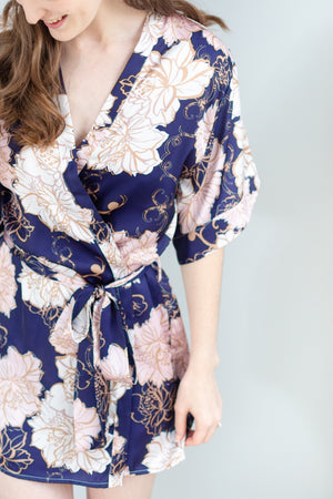 Navy, blush and gold Brooklyn Floral print bridesmaid robe for getting ready or bridesmaid gift in toronto