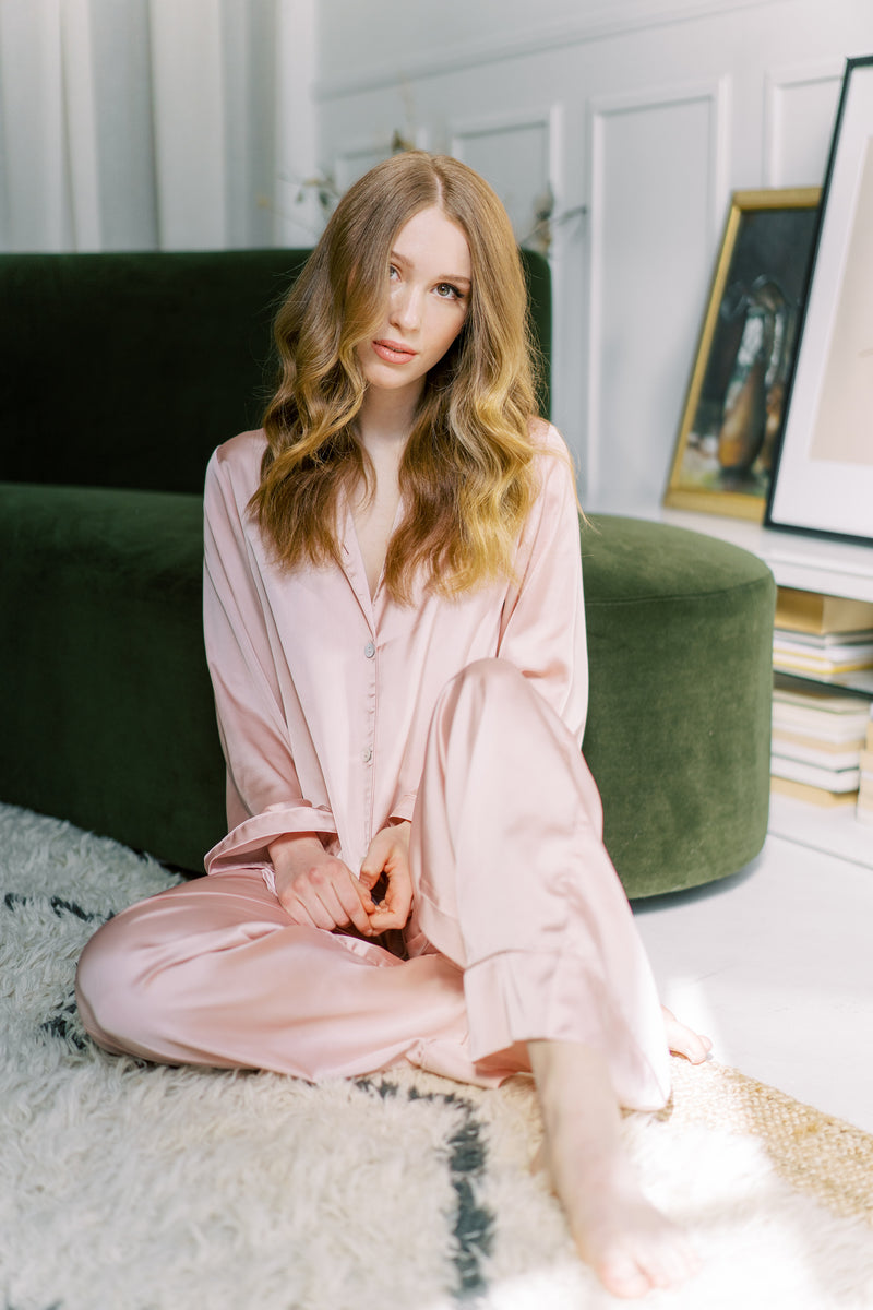 holiday gift item long sleeve blush pajama set from by catalfo in toronto