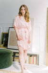 solid blush silk robe from by catalfo for bridesmaid gifts
