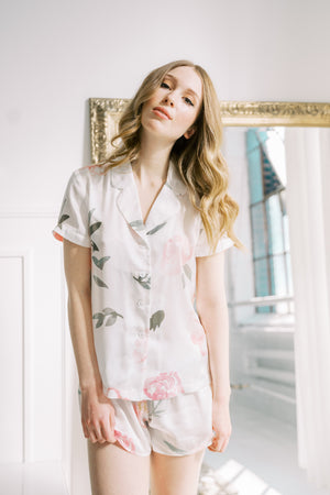 white and blush floral print pajama set from by catalfo