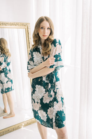 by catalfo forest green and blush floral bridal robe