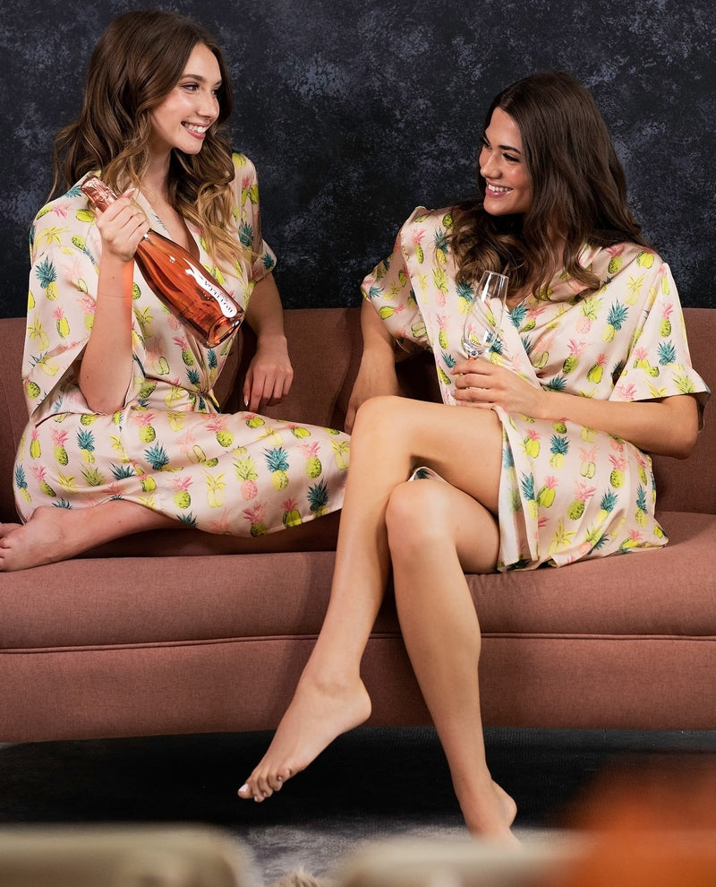 tropical pineapple print bridesmaid robe from by catalfo in toronto