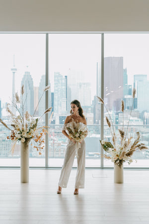 toronto wedding at globe and mail center with bridal jumpsuit