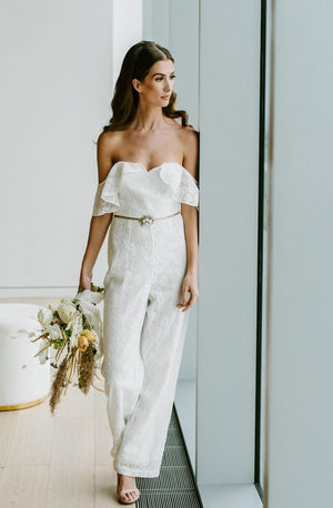 by catalfo lace pantsuit for a modern bride