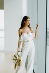 white lace wedding jumpsuit for an alternative bride