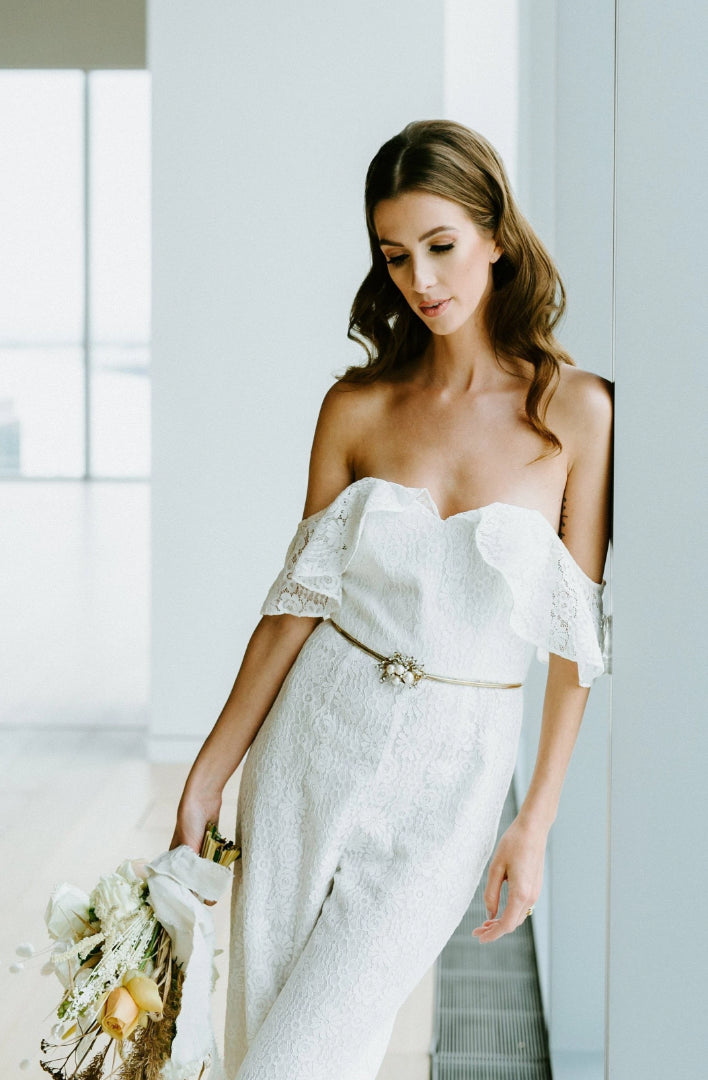 'Willow' Bridal Jumpsuit in white lace for the modern bride