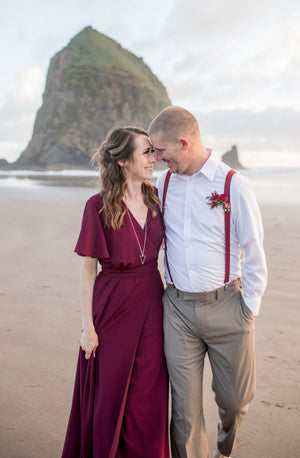 burgundy wrap dress for an elopement wedding