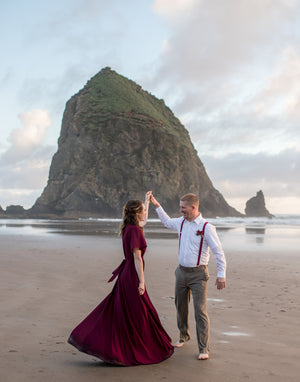 burgundy elopement dress for beach wedding