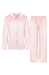 elegant blush pajama set for women, made in silky charmeuse