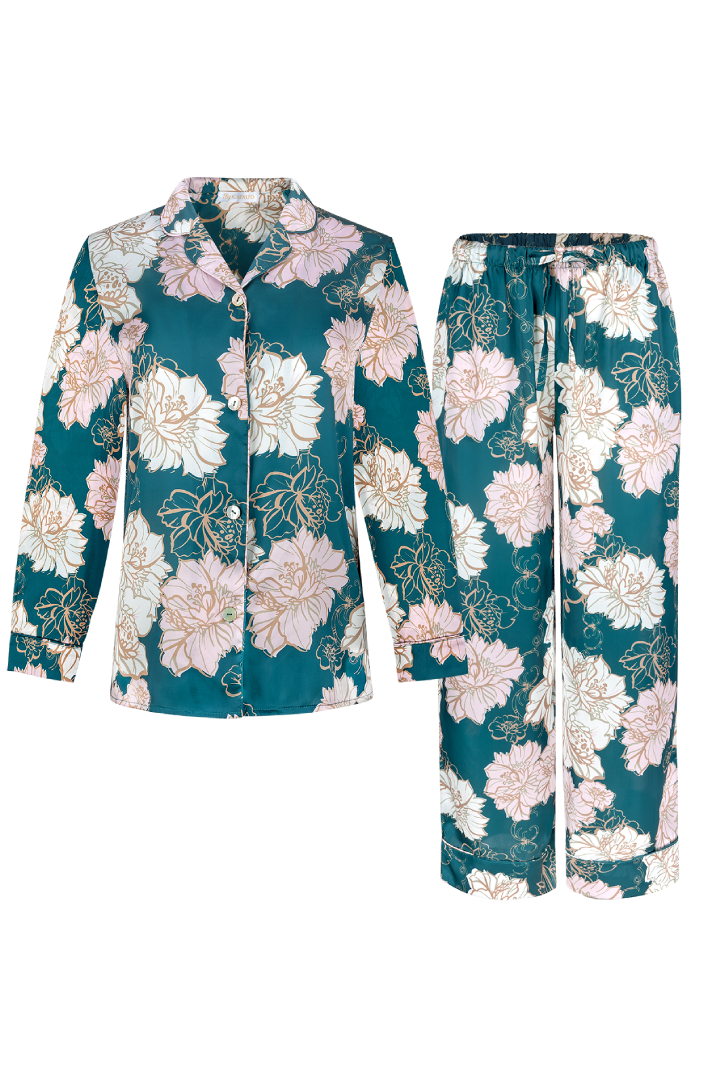 floral print designer pjs for women, made in silky charmeuse